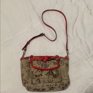 Coach Crossbody Purse with Red Leather Accents